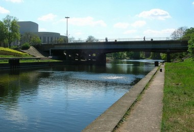The bridge on Brda River in Bydgoszcz.